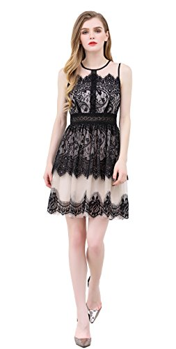 UP Ultrapink Junior Womens Woven Dress Lace Mesh Sheer Neck Tiered Hem Fit n Flare Tiered Mesh Dress