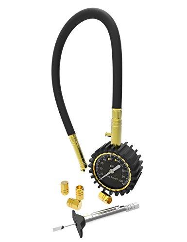 Dial Tire Pressure Gauge, Amado Dial Tire Pressure Gauge Tire Gauge Covers Most Accurate Tire Gauge with Free Tire Depth Gauge and 4 Free Aluminum Valve Caps