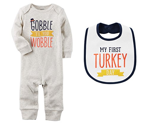 oys Thanksgiving Gobble Til You Wobble Jumpsuit and First Turkey Day Bib Set (3 Months) ()