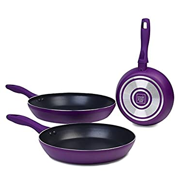 Cook Prep Eat CPECOO-87601 3 Piece Saute Pan Set with 12 /10 /8  Nonstick Specialty Fry Pan, Large, Purple