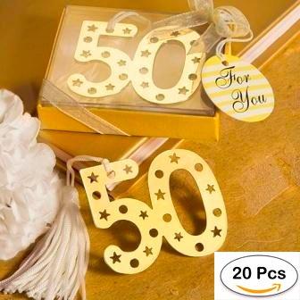 Lote de 20 Elegantes Puntos de Libro 50º Aniversario - Recuerdos y Detalles Bodas de Oro