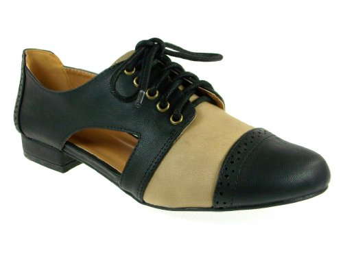 Qupid Womens Oliver-02 Cap Toe Open Side Lace up Shoes Black g4q0FX