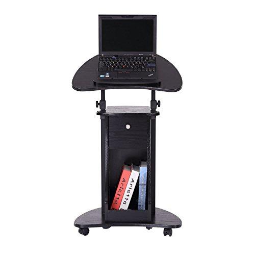 HOMCOM Adjustable Height Laptop Cart with Storage - Black by HOMCOM (Image #2)