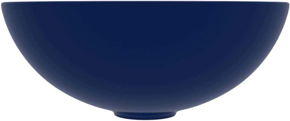vidaXL Lavabo de Salle de Bain Rond Vasque /à Poser de Toilette Lave-mains de Cuisine Salle Cosm/étique Maison Int/érieur C/éramique Bleu Fonc/é