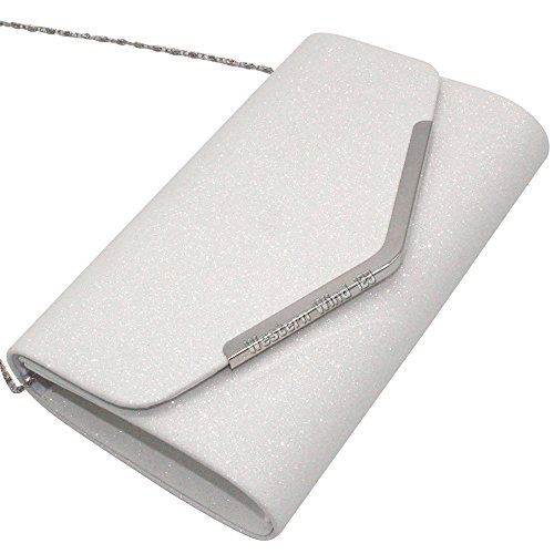 Clutch Fashion Handbag Silver Wocharm Evening White Sparkly Black Prom Womens Bridal Bag White Party 7wEx55TCq