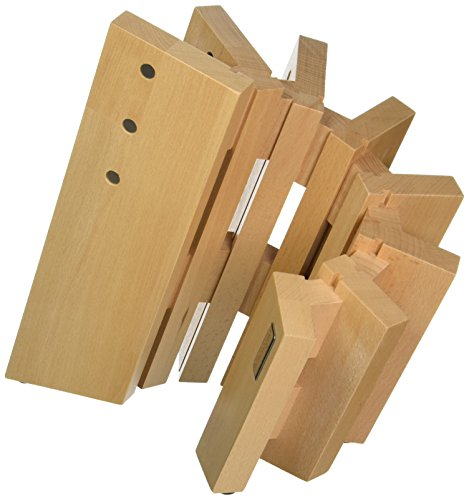 Artelegno Magnetic Knife Block Solid Beech Wood 8 Panel, Luxurious Italian Pisa Collection by Master Craftsmen Displays High-End Knives Elegantly, Eco-friendly, Natural Finish, - Cutlery Beechwood Tray
