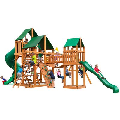 Gorillaplay Sets Home Backyard Playground Treasure Trove Swing Set with Amber Posts and Sunbrella Canvas Forest Green Canopy