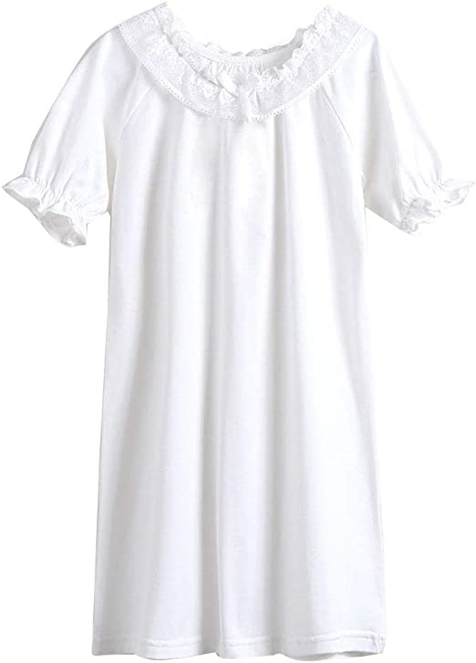 Niñas Camisón De Encaje Camisetas De Pijama Manga Corta T Shirts ...