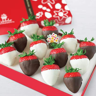 Edible Arrangements Fresh White and Semisweet Chocolate Covered Strawberries Gift Box