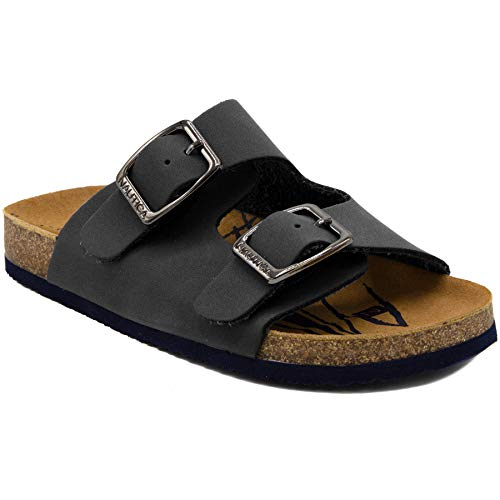 (Nautica Kids Grant Youth Open Toe Sandal 2 Buckle Straps Comfort Slide Outdoor Sport Casual Sandals-Grey-4)