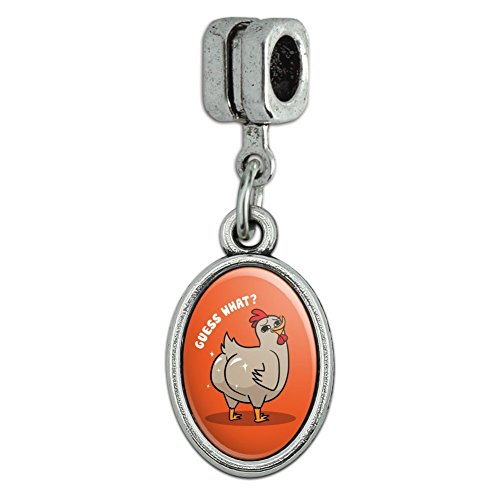 GRAPHICS & MORE Guess What Chicken Butt Funny Italian European Style Bracelet Oval Charm ()
