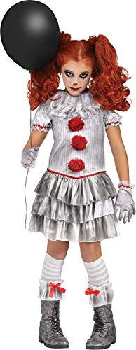 Fun World 119322 Girls Carnevil Clown Costume (X-Large) Silver