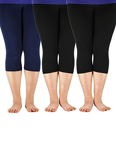 Zando Women's Plus Size Ultra Soft Summer Cropped Leggings Elastic Cool Lightweight 3/4 Length Yoga Capri Pants