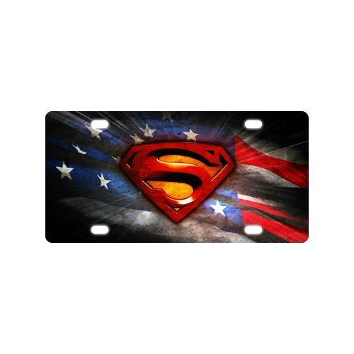 Superman Logo US American Flag License Plate Flag Logo License Plates