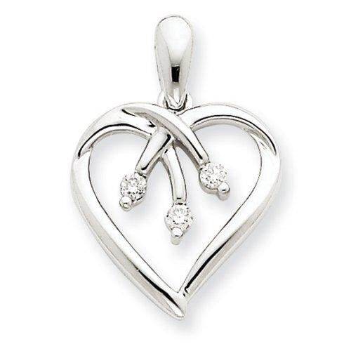 Icecarats Créatrice De Bijoux En Or Blanc 14K Pendentif Coeur Diamant Trois Pierres