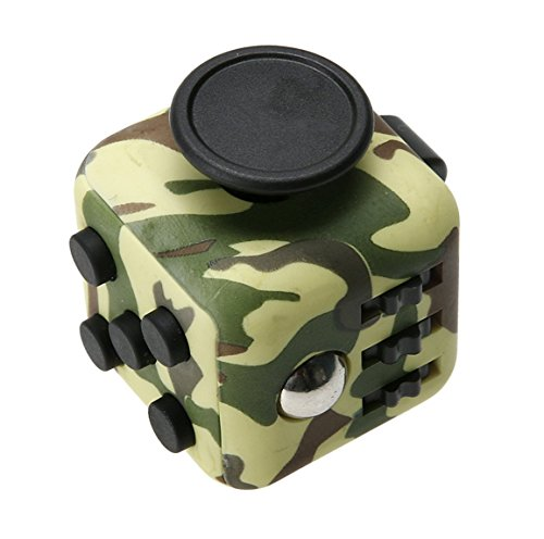 Sky Light Fidget Cube - Fidget Toys Cube For Fidgeters! Relieve Stress, Anxiety, And Boredom All At Your Finger Tips. Stress Cube Juguet Desk Spin Toys Fidget Toys (Army Green)