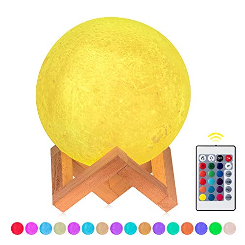 - Moon Lamp Moon Light Kids Nursery Night Light, 3D Printing 16 Color Change USB Recharge Touch Remote Control Desk Table Lamp for Home Party Decor