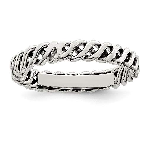 925 Sterling Silver Weaved 3.5mm Womens Band Ring Size 7.00 Fine Jewelry Gifts For Women For Her ()