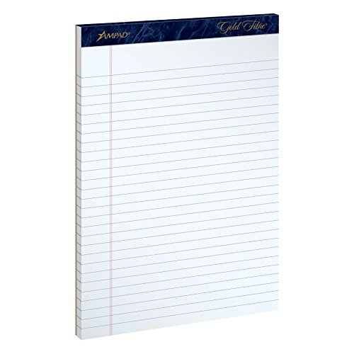 Ampad Gold Fibre Writing Pad, Legal/Wide Ruled, 50 Sheets, White, 8-1/2