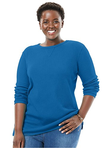 Women's Plus Size Top, Sweatshirt in Soft, Colorful Thermal Knit Bright by Woman Within