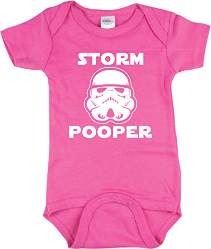 (Girls Funny Baby Clothing, Storm Pooper Bodysuit, Star Wars Inspired, Pink 0-3 mo)