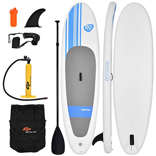 Goplus Inflatable 10  StandUp Paddle Board Package w/ Leash Fin Adjustable Paddle Pump Kit Carry Backpack, 6 Thick