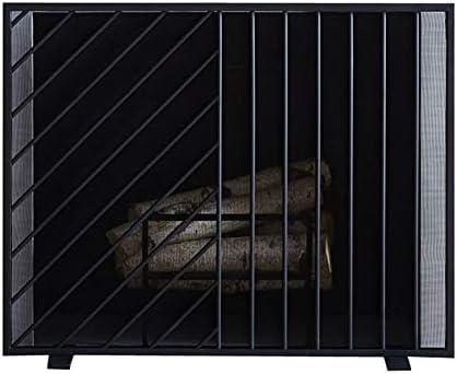 暖炉 スクリーン ブラック(96x76cm) - メッシュカバー、赤ちゃんの安全スパークガード/ホームリビングルームのインテリアとフラットパネルシングルブラックファイヤースクリーン