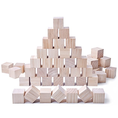 (24pcs Solid Wood Craft Blocks DIY Crafts Carving Painting Art Supplies for Children Shower Game Puzzle Making,2inch)