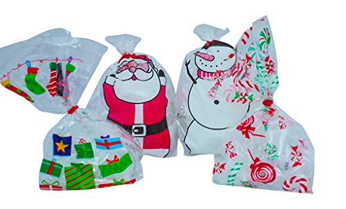 - Christmas Favor Goodie Bags with Twist Tie - 72 Cellophane Loot Bag, Party Bag, Favor Bags- Santa Snowman Candy Cane Designs - Festive for Xmas and Holidays - Great for Gifts, Chocolate, Cookies