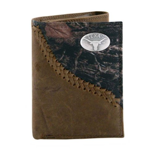 NCAA Texas Longhorns Camouflage Leather Trifold Concho Wallet, One Size