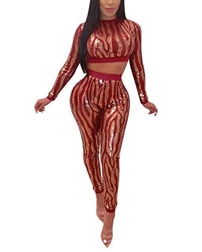 Women 2 Piece Outfits Clubwear Bodycon Sequin Jumpsuit Set Crop Top Pants Suit Red L
