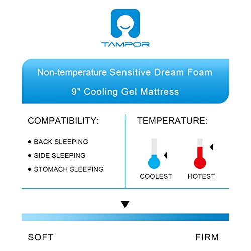 Memory Foam Mattress 9 Inch Cool Gel Foam Mattress with Removable Elaborate Jacquard Mattress Protector Hypoallergenic Firm Bed Mattress by TAMPOR, Queen