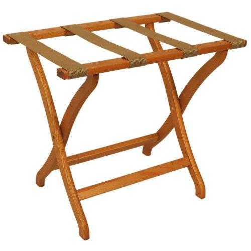 Wooden Luggage Rack (Deluxe Contour Leg Luggage Rack Wood Finish: Medium Oak, Fabric: Tan)