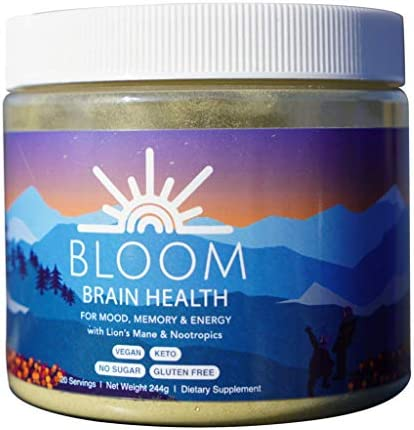 Helio Today – Bloom A Brain Health Beverage for Mood, Memory Energy Lion s Mane, Ginkgo Biloba, Nootropics, Choline, Guarana, DMAE, Matcha Green Tea, Vitamin E B Vitamins
