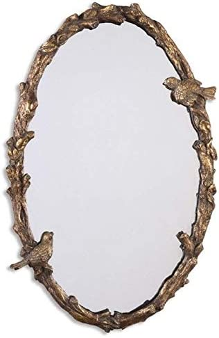 Uttermost Paza Oval Vine Mirror in Distressed Antiqued Gold
