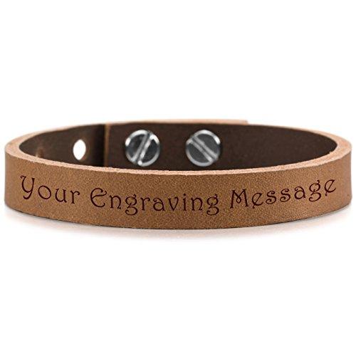 MeMeDIY Brown Black White Silver Tone Alloy Genuine Leather Bracelet Bangle Adjustable - Customized Engraving