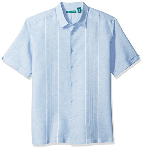 Cubavera Men's Short Sleeve Linen-Blend No-Pocket Button-Down Shirt with Panels, Allure, Extra Large ()