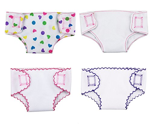XADP 4 Sets Doll Diapers Doll Underwear Set for 14 Inch to 18 Inch Baby Dolls, 18 Inch American Girl Doll, and Other Similar Dolls, 4 Diapers