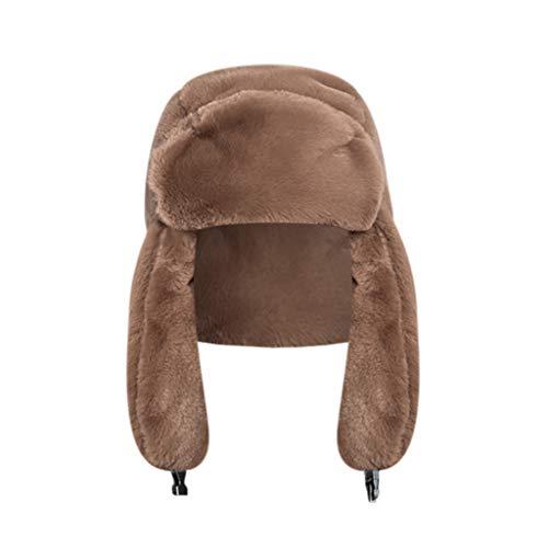 Crytech Unisex Faux Fur Russian Trooper Hat, Winter Warm Ushanka Snow Skiing Hat with Earflap Ear Warmer Plush Furry Cap Elmer Fudd Trapper Hat Ear Flap for Women Lady Men Outdoor Hunting (Brown)