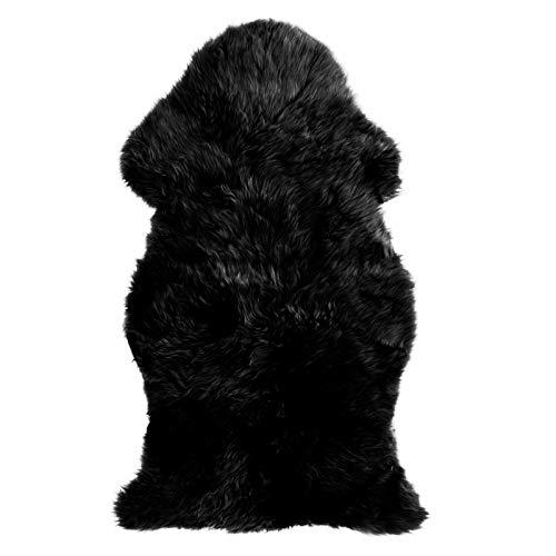MetU Genuine Australian Sheepskin Rug Soft Faux One Pelt Black Fur for Home Decor (2' x 3', Black)