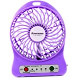 Summarytip Portable Mini USB Fan 4-inch Vanes 3 Speeds Rechargeable Desktop Fan Battery/ USB Powered(Purple)