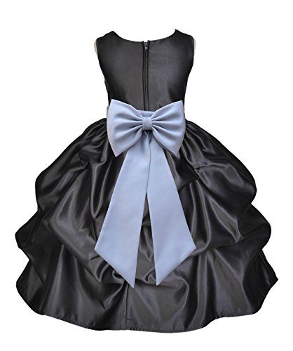 Black Satin Bubble (Black Satin Bubble Pick-up Junior Flower Girl Dresses Ballroom Gown 208T 8)