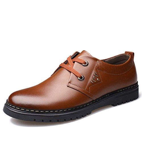 GRRONG Zapatos De Cuero De Los Hombres Del Ocio Cómodo De Moda Negro Marrón Brown