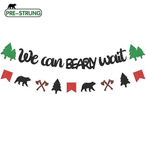 Themed Parties Ideas (2Pcs Lumberjack Baby Shower Banner We Can Bearly Wait Garland Decorations Rustic Hunter Camping Themed Party Ideas Woodland Forest Wild Kids Birthday Party)