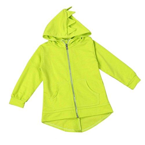 Leegor Child Kids Cute Dinosaur Outerwear Zipper Jacket Hooded Coat Windbreaker (5T, Yellow)