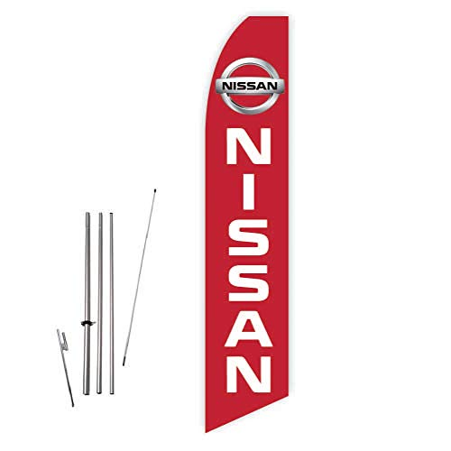 Nissan 2015 (Red) Super Novo Feather Flag - Complete with 15ft Pole Set and Ground Spike