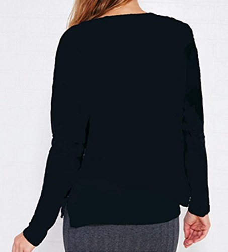 Sleeve Crenwneck Tops Sweatshirt Print Long amp;W amp;S Black Blouse Chritsmas Women's M wvq8O7fxIq