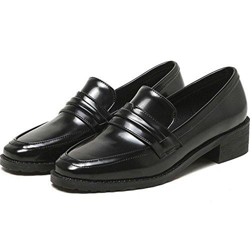 COOLCEPT Mujer Moda sin Cordones Bombas Cerrado Gruesos Zapatos Negro