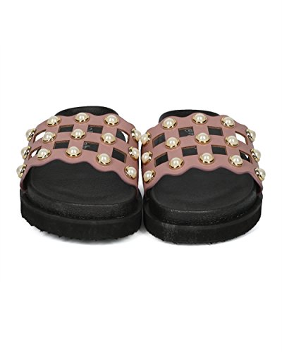 Alrisco Women Leatherette Faux Pearl Studded Caged Footbed Slide - HG31 by Refresh Collection Mauve Leatherette RBrW2B9Tb