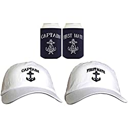 Funny Sailing Captain First Mate Hat Embroidered Cap Funny Beer Coolies Can Coolers Gift Set Bundle White